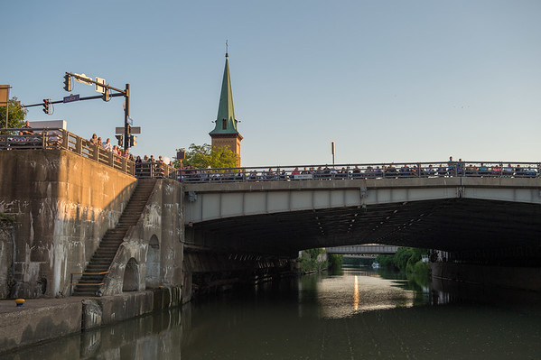 A crowd watches from the Big Bridge as the Albany Symphony play their final Water Music New York concert inside Lock 35 of the Erie Canal on Saturday, July 8th, 2017 in Lockport N.Y.  The Symphony performed seven concerts in as many days across New York State to celebrate the Canal's Bicentennial. (Joed Viera/Lockport Union-Sun & Journal)