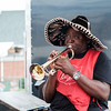 Major Celestin Nkounkou plays trumpet at the Salvation Army's food stand during the Niagara County Fair in Lockport N.Y. on Wednesday, August 2nd, 2017.  (Lockport Union-Sun & Journal/Joed Viera)
