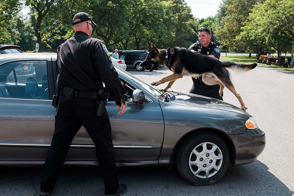 JOED VIERA/STAFF PHOTOGRAPHER- Niagara County Sheriffs Deputy Richard Bull holds onto EJ the Sheriffs Department's new K9 during a demonstration at the Niagara County Fair.