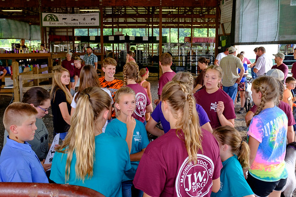 JOED VIERA/STAFF PHOTOGRAPHER-4H kids wait for a contest to start at the Niagara County Fair.