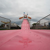 JOED VIERA/STAFF PHOTOGRAPHER-Friday's rain and lightning put a damper on the fun slide during the Niagara County Fair.