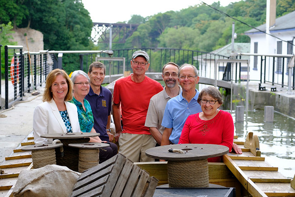 JOED VIERA/STAFF PHOTOGRAPHER-Mayor Anne McCaffrey joins Locks District Heritage Corp members for a ride on the Flight of Five on the Erie Traveler after a meeting to discuss renovation plans.