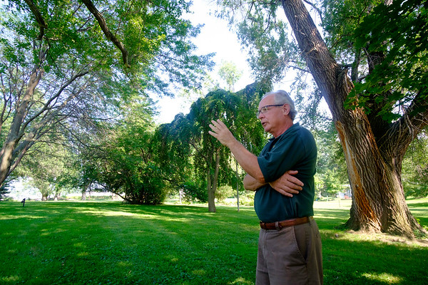 JOED VIERA/STAFF PHOTOGRAPHER-Newfane Town Histrian Bill Clark outside on the Van Horn Mansion property