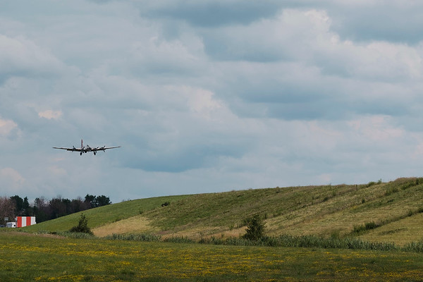 """JOED VIERA/STAFF PHOTOGRAPHER-The Madras Maiden, a WW2 era B-17 """"Flying Fortress"""" lands at the Buffalo International Airport in Buffalo N.Y. on Monday, Aug. 7, 2017. Tours and flights on the Maiden are available to the public at on August 12 and 13."""