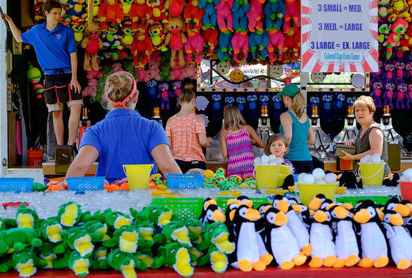 JOED VIERA/STAFF PHOTOGRAPHER-Game stands are stocked with plenty of stuffed animals waiting for new homes during the Niagara County Fair in Lockport N.Y. on Wednesday, August 2nd, 2017.  (Lockport Union-Sun & Journal/Joed Viera)