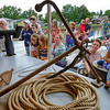 Dozens of people aboard the Lois McClure listen to Arthur Cohn speak about canal schooners during it's visit to Middleport, N.Y. on Wednesday, Aug. 23, 2017. The McClure, a replica that launched in 2004, was inspired by a shipwreck found at the bottom of Lake Champlain by students of Cohn. (Joed Viera/Lockport Union-Sun & Journal)