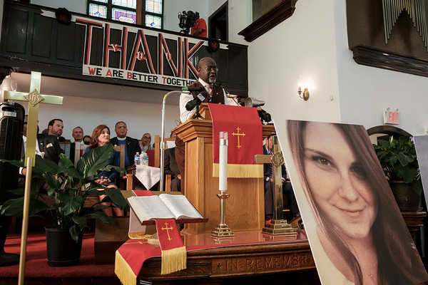 Greater Works Deliverance Fellowship Pastor and VOICE-Buffalo President James E. Giles speaks at Durham Memorial A.M.E. Zion Church in Buffalo, N.Y. on Wednesday, Aug. 16, 2017. The Historic church held a vigil for Heather Heyer, Lieutenant H. Jay Cullen and Trooper Berke M. M. Bates.(Joed Viera/Lockport Union-Sun & Journal)