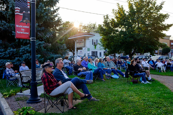 JOED VIERA/STAFF PHOTOGRAPHER- Dozens showed to watch Creekside Classic Country Band play the final Newfane Gazzebo concert of the season.