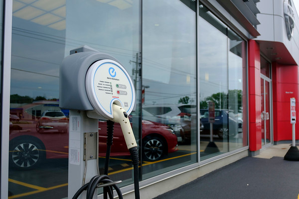 JOED VIERA/STAFF PHOTOGRAPHER-A demo charging station outside of the West Herr dealership.
