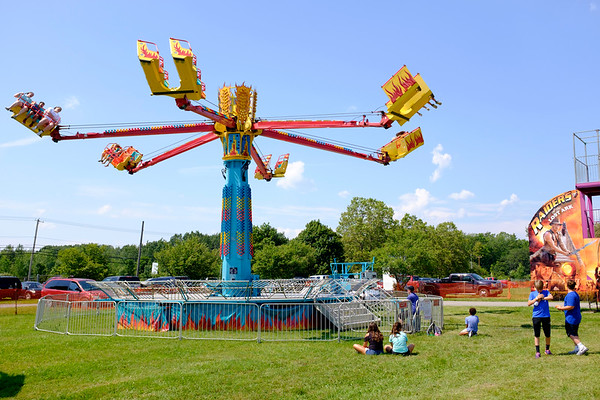 Patrons soar on a ride at the Niagara County Fair in Lockport N.Y. on Wednesday, August 2nd, 2017.  (Lockport Union-Sun & Journal/Joed Viera)