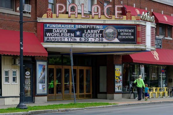 JOED VIERA/STAFF PHOTOGRAPHER-The Palace Theatre's marquee displays an advertisment for a fundraiser using the official city seal.