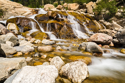 Waterfall at the Alluvial Fan location in Rocky Mountain National Park. This is an area that was subjected to a very large flood that moved thousands of tons of debris down the mountain. This is the scene now - at least until the next big flood event.