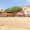Lead locomotives of a BNSF train seen while travelling west on I-70 west of Glenwood Springs, Colorado. The train was mostly petroleum and refined petroleum products.