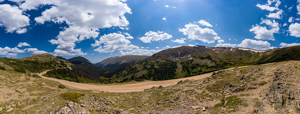 Panorama of the Old Fall River Road near the Alpine Visitor Center in Rocky Mountain National Park.