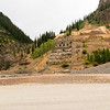 """Eureka """"ghost town"""" near Silverton, Colorado. This """"ghost town"""" comprised a single re-built storage shed and an abandoned gold mine's foundation."""