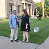 Joed Viera/Staff Photographer-3rd Ward Candidates Mark Devine and Rikki Cason chat outside of the County Historians Office before the polls closed.
