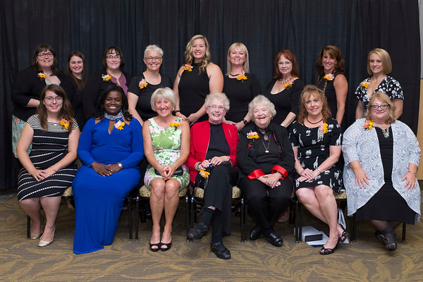 Joed Viera/Staff Photographer-    YWCA of The Niagara Frontier's 2017 Niagara Award recipients. Front Row: Dana Radatz, Unidentified,  Jennifer Knibbs, Gwen Howard, Debra Workman, Amanda Irons-Rindfleisch, Katherine Lucas, Kathryn Kaiser, and Rebbecca Vincheski.<br /> <br /> Back Row: Lynne Neveu, Cynthia Jones, Margaret Toper, Norma Higgs, Marjorie Gillies, Patricia Frederick and Karen Bunce