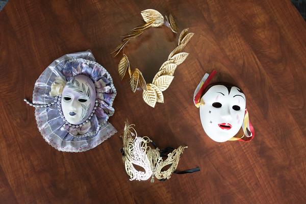 Joed Viera/Staff Photographer-  Some of Marion Hannigans Venetian masquerade masks.