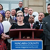 Joed Viera/Staff Photographer- <br /> Recovering addict and Drug Court graduate Amy Bragg speaks at an overdose victims remembrance outside of the Niagara County Courthouse
