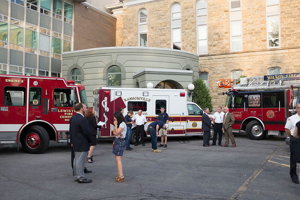 Joed Viera/Staff Photographer- <br /> Lewston, Ransomville and Wilson emergency Vehicles park outside of the Niagara County Courthouse.