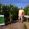 Joed Viera/Staff Photographer-Operator Jamie Kuminski by the entrance to the Cabria Corn Maze.