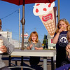 Joed Viera/Staff Photographer-Tommy, 9, Emma, 5, Molly, 7 and Caylee, 8, Casalinuovo enjoy frosty after school treats at JoJo's Ice Cream.