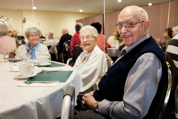 Joed Viera/Staff Photographer- Jeanette Hamminga, 91, Jean Rosenthal, 90, and Claude Rosenthal, 94 were three of 12 nonagenarians celebrated at Newfane Golden Agers Clubs meeting on Thursday.
