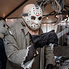 Joed Viera/Staff Photographer-Michael Myers and Jason Voorhees haunt Mike Stawicki's home. Stawicki has been decorating his and his mother in law's residences with nightmare inducing displays for close to a decade. To see and tour the haunted yards head over to 25 and 26 Crosby Road.