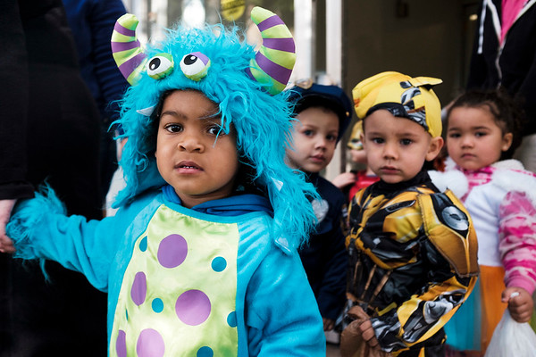 Joed Viera/Staff Photographer-Happy Times daycare tots trick or treat at the Dale Association