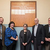 Joed Viera/Staff Photographer-DeSales Catholic School Distiguished Alumni Hall of Fame inductees Leland Ryan, Kathleen Whalen Granchelli, Marietta Wendel Schrader, Dr. J. Thomas Lamont and John Murphy unveil a new plaque at the School.