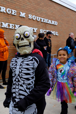 Joed Viera/Staff Photographer-A George Southard Elementary School Skeleton participate in the School's Halloween Parade.