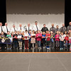 Joed Viera/Staff Photographer-Fricano primary students stand with law enforcement officers after thanking them with hand written cards on behalf of the primary school.