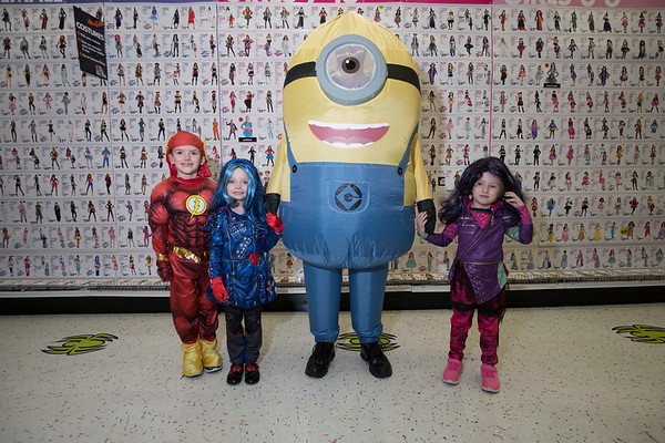 Joed Viera/Staff Photographer- Landon Strech, 6, The Flash, Isabela Soliday, 5,Evie of The Descendants<br /> Jesse Kopczynski , Minon, and Layla Tomaselli, 4, Mal of The Descendants. at Party City .
