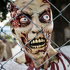 Joed Viera/Staff Photographer-A Zombie attempts to get by a fence on Mike Stawicki's terror filled halloween lawns. Stawicki has been decorating his and his mother in law's residences with nightmare inducing displays for close to a decade. To see and tour the haunted yards head over to 25 and 26 Crosby Road.