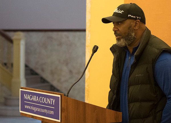 Joed Viera/Staff Photographer-Lt. Thurman Thomas speaks before presenting Niagara County with a check on behalf of Batavia Downs Gaming.