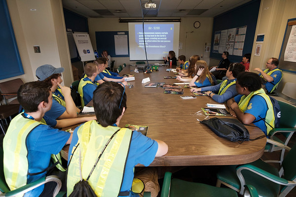 Joed Viera/Staff Photographer-Lockport High School Students play a game of Environmental Jeopardy at GM's Lockport component holdings plant during a Manufacturing Week event.