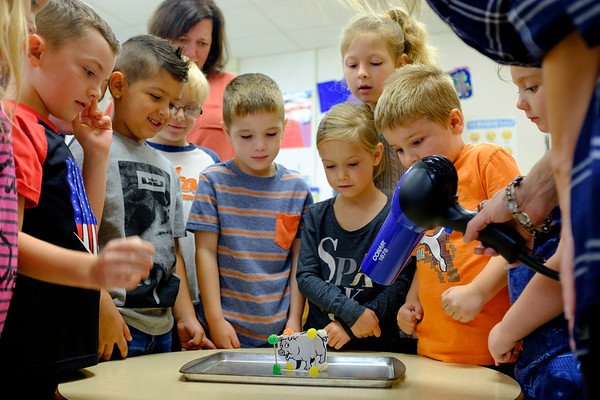 Joed Viera/Staff Photographer-   Kindergarteners built houses to protect pigs from the big bad wolf (a hair dryer) with gumdrops and toothpicks inside Kristin Andrews class at Newfane Elementary School during a Stem Event.