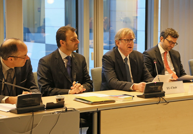 From second left: Mr Vaclav Navratil, EEA desk officer, European External Action Service (EEAS); Claude Maerten, Head of Division, European External Action Service (EEAS), chairing the meeting of the EEA Joint Committee
