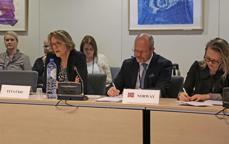 Ambassador Oda Helen Sletnes, Mission of Norway to the EU, EFTA-Chair; Mr Knut Hermansen, Minister Councellor, Mission of Norway to the EU; Ms Turi Bakke, First Secretary, Mission of Norway to the EU