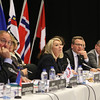 From left: Dag Wernö Holter, EFTA Deputy Secretary-General, Kristinn F. Árnason, EFTA Secretary-General; Ms Monica Mæland,  Minister of Trade and Industry, Norway; Mr. Guðlaugur Þór Þórðarson, Minister for Foreign Affairs and External Trade, Iceland; Ambassador Markus Schlagenhof, Switzerland; Ambassador Didier Chambovey, Switzerland.