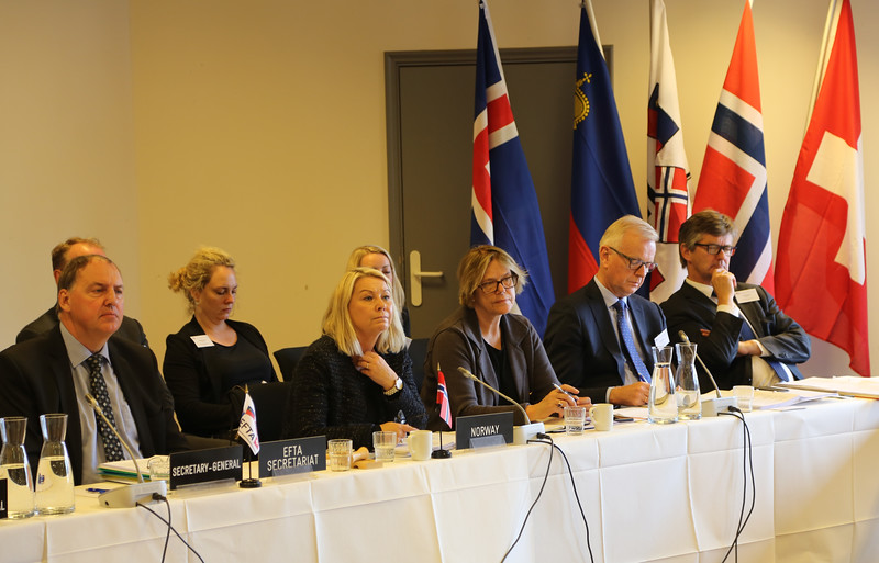 From left: Mr Kristinn F. Árnason, Secretary-General, EFTA; Ms Monica Mæland,  Minister of Trade and Industry, Norway; Ms Oda Sletnes, Norway's Ambassador to the EU; Mr Harald Neple, Norway's Ambassador to the WTO and EFTA.