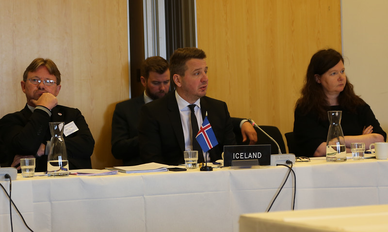 Icelandic delegation, from left: Högni S. Kristjánsson, Ambassador and Permanent representative in Geneva; Guðlaugur Þór Þórðarson, Minister for Foreign Affairs and External Trade; Bergdís Ellertsdóttir, Ambassador to the EU.