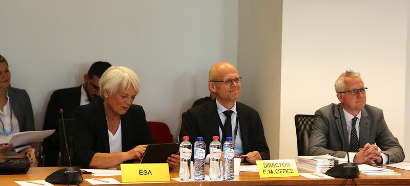 Helga Jónsdóttir, College Member and Henning Stirø, Director of the Financial Mechanism Office at the EFTA Standing Committee Meeting on 05.07.2017