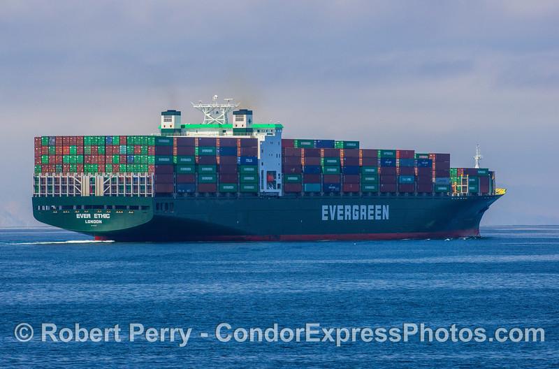 "Cargo vessel ""Ever Ethic"" in the Santa Barbara Channel."