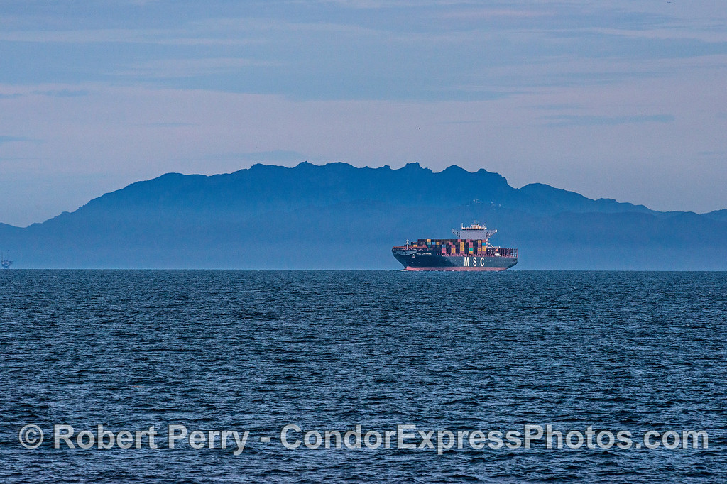 Container ship MSC Catarina enters the Santa Barbara Channel with Bony Ridge in the back.