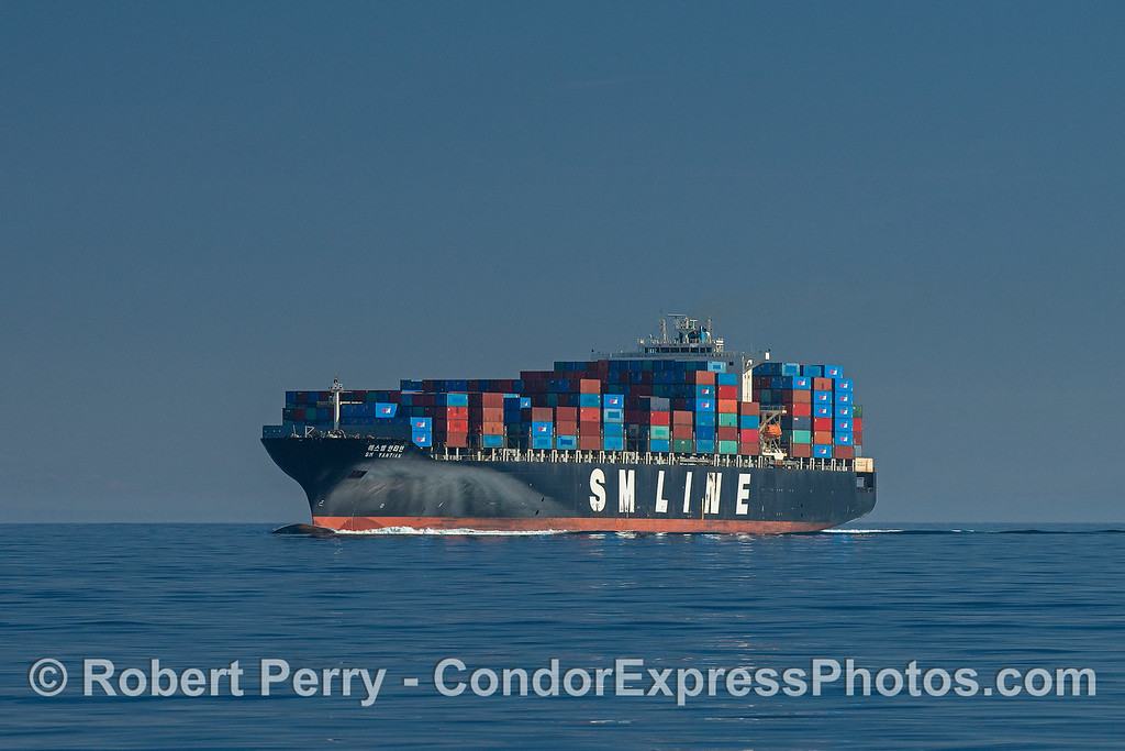 Container cargo vessel SM Yanaian heads northbound in the Santa Barbara Channel.