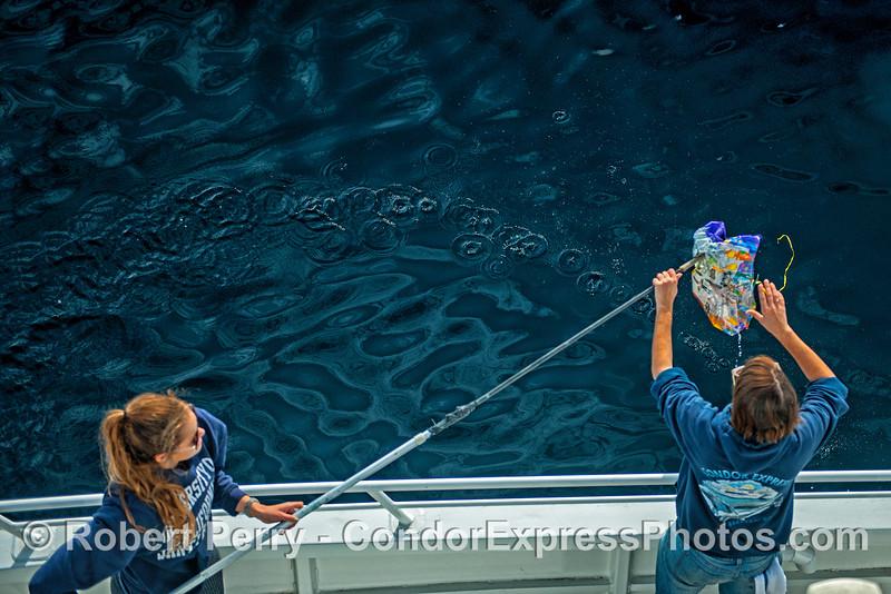 Balloon trash removal - Condor Express staff:  Tasha and Jill.