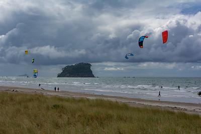 Kite surfing, Tauranga beach, New Zealand