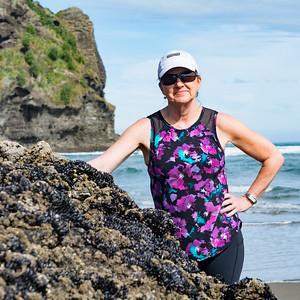 Sue on Piha Beach, NZ