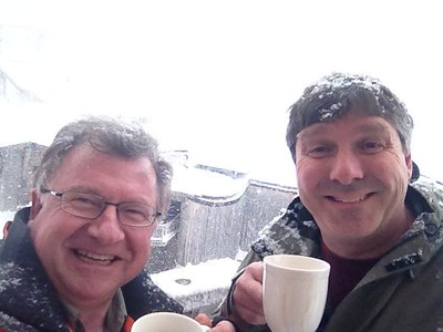 Dave and Ian, day One.  Drinking coffee (for real)